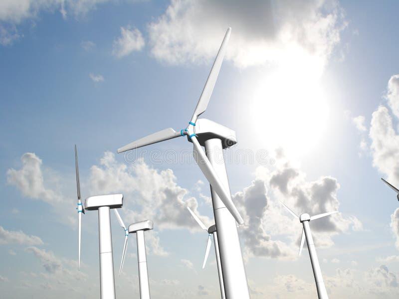 Moinhos de vento, energia renovável. ilustração do vetor