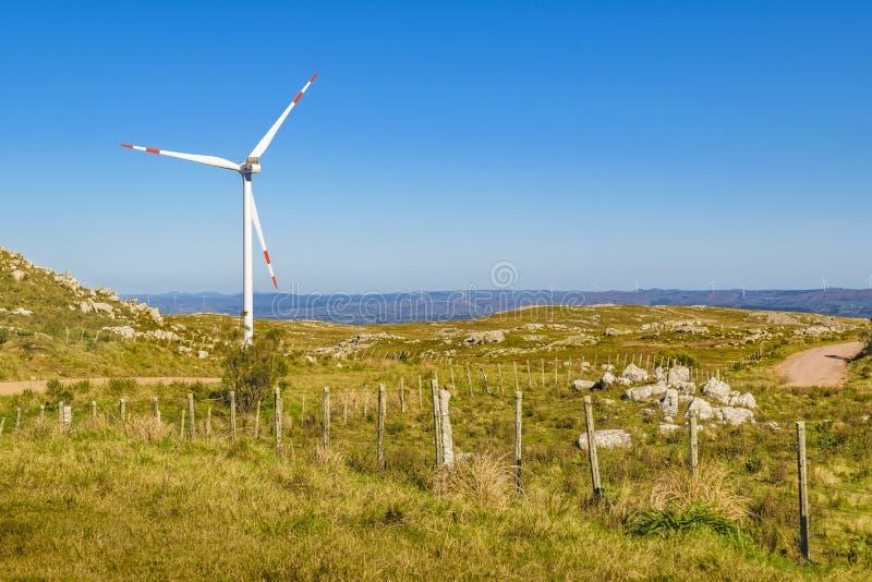 Moinhos de vento de Eolic no campo, Maldonado, Uruguai imagens de stock royalty free