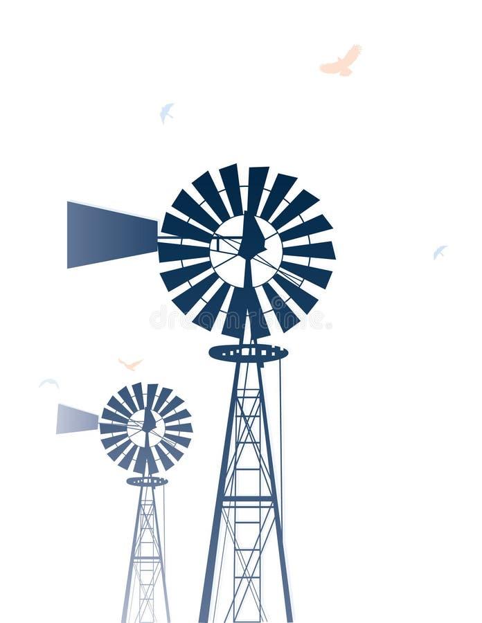Moinhos de vento ilustrados ilustração royalty free
