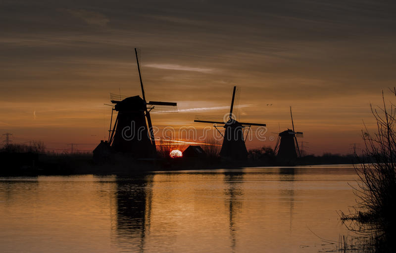 Moinhos de vento Kinderdijk foto de stock