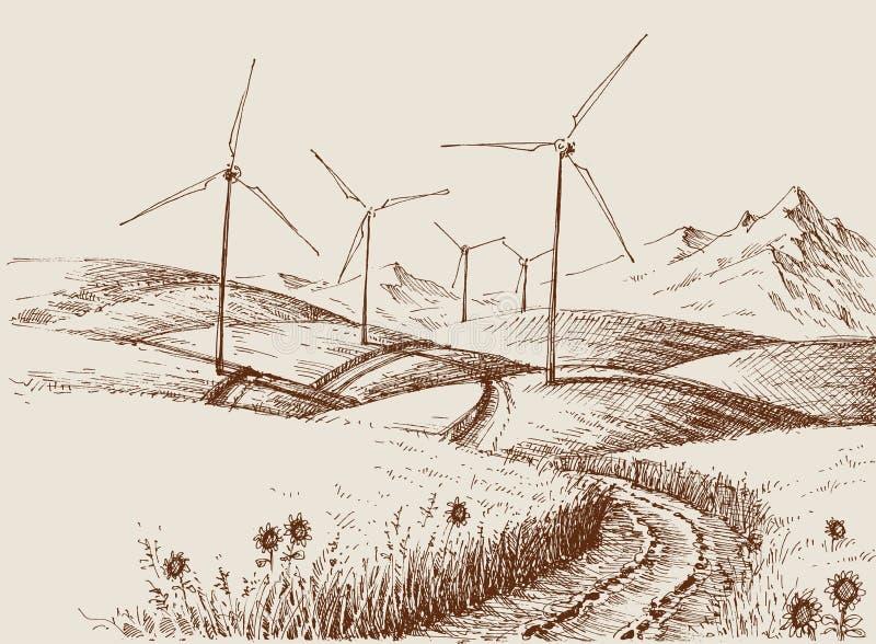 Moinhos de vento na paisagem dos montes ilustração royalty free