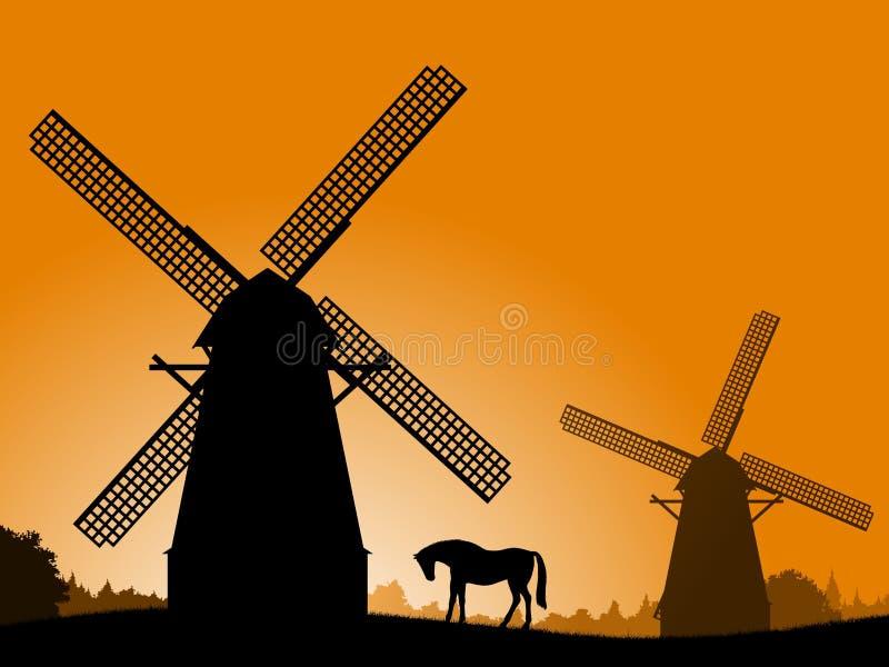 Moinhos de vento no por do sol. ilustração do vetor