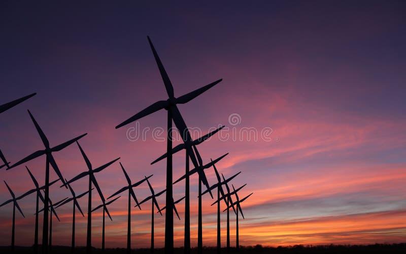 Moinhos de vento no por do sol da noite - sustainablilty foto de stock royalty free