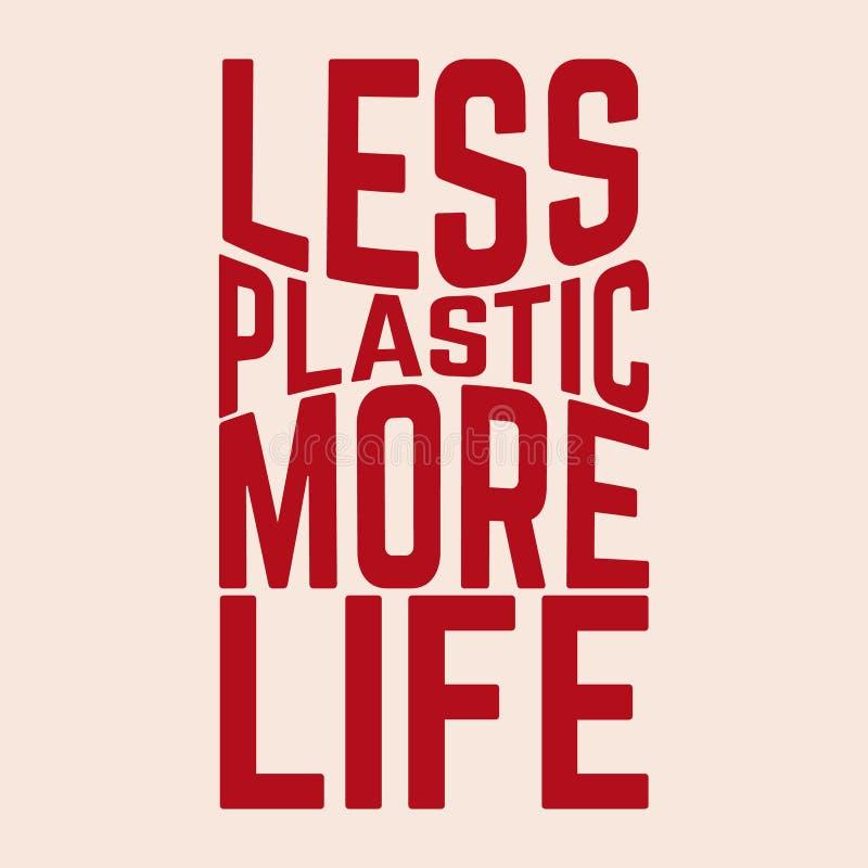 Moins de plastique plus de vie Lettres vectorielles isolées illustration stock