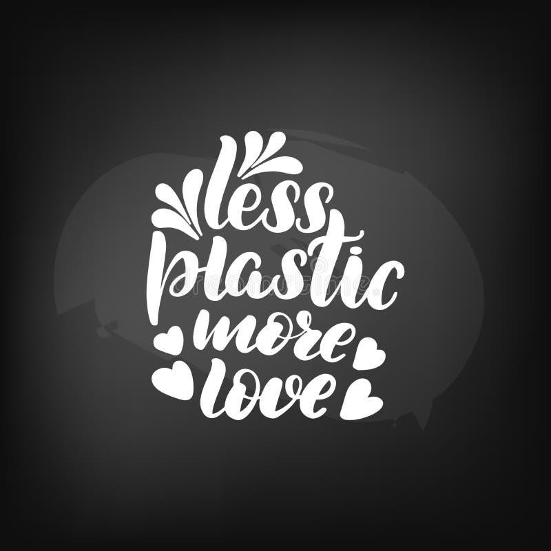 Moins en plastique plus d'amour illustration stock