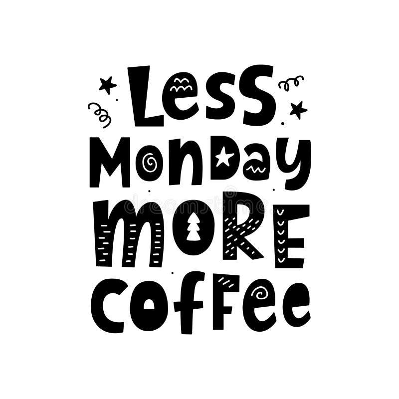 Moins lundi, plus de café Affiche avec la main écrite marquant avec des lettres la citation illustration stock