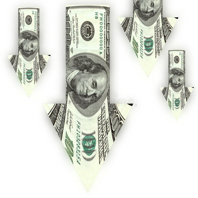 Moins-value du dollar illustration libre de droits