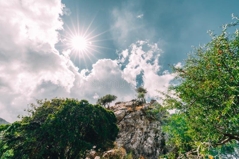 Mointains w Crete, Grecja Widok Sivas Panorama krajobraz od centrali Crete W tle Psiloritis obrazy stock