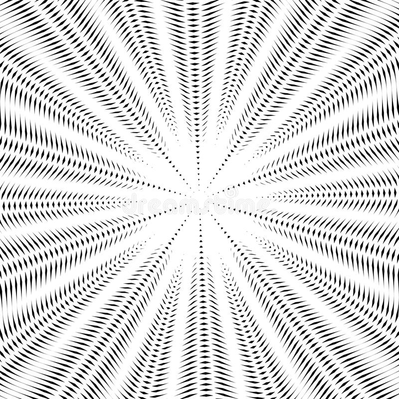 Moire pattern, op art background. Hypnotic vector backdrop with. Geometric black lines. Abstract tiling stock illustration