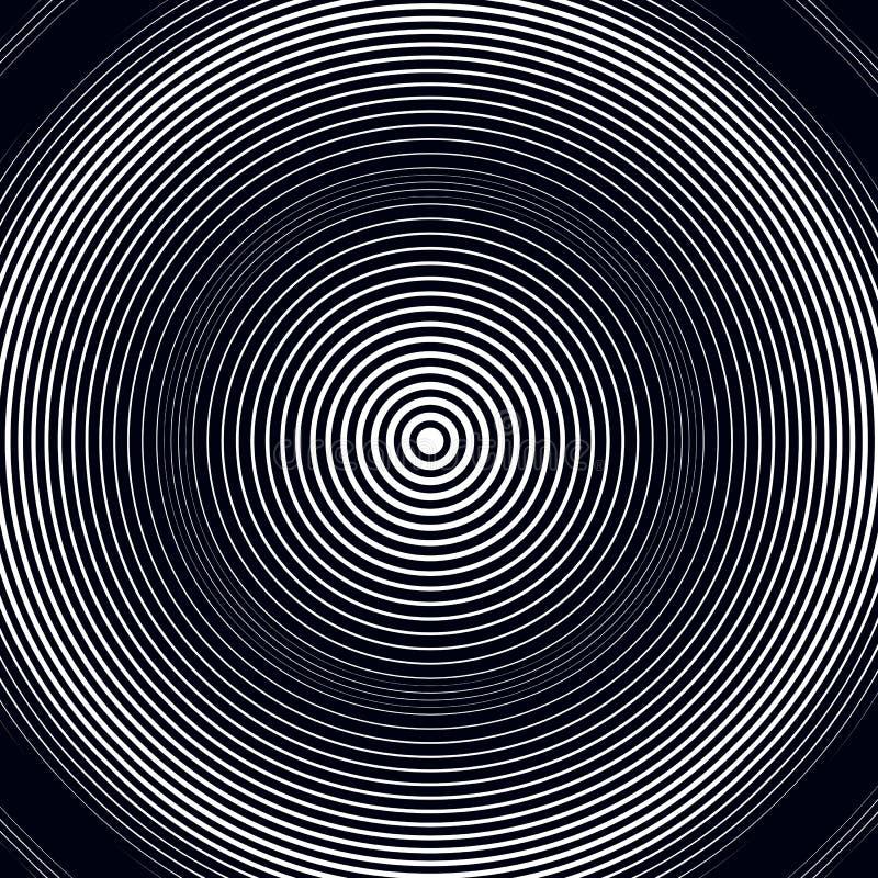 Moiremodell, vektorbakgrund för op konst Avslappnande hypnotisk backd royaltyfri illustrationer