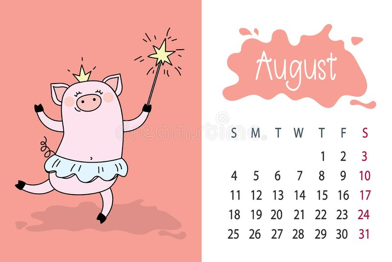 Mois d'août page de calendrier de 2019 ans avec le porc rose mignon, illustration de vecteur
