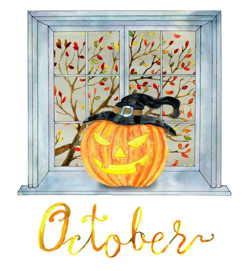 Mois d'octobre Tête de potiron de Halloween et arbre de chute dans la fenêtre illustration stock