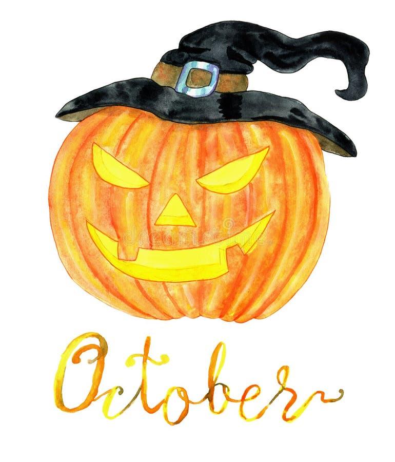 Mois d'octobre Tête de potiron pour la célébration de Halloween illustration de vecteur