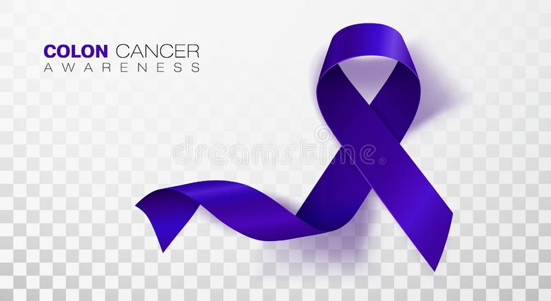 Mois de conscience de cancer du côlon Ruban bleu-foncé de couleur d'isolement sur le fond transparent Cancer côlorectal Vecteur illustration de vecteur