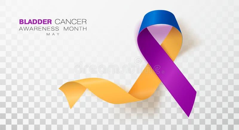 Mois de conscience de cancer de la vessie Souci et ruban bleu et pourpre de couleur d'isolement sur le fond transparent Conceptio illustration de vecteur