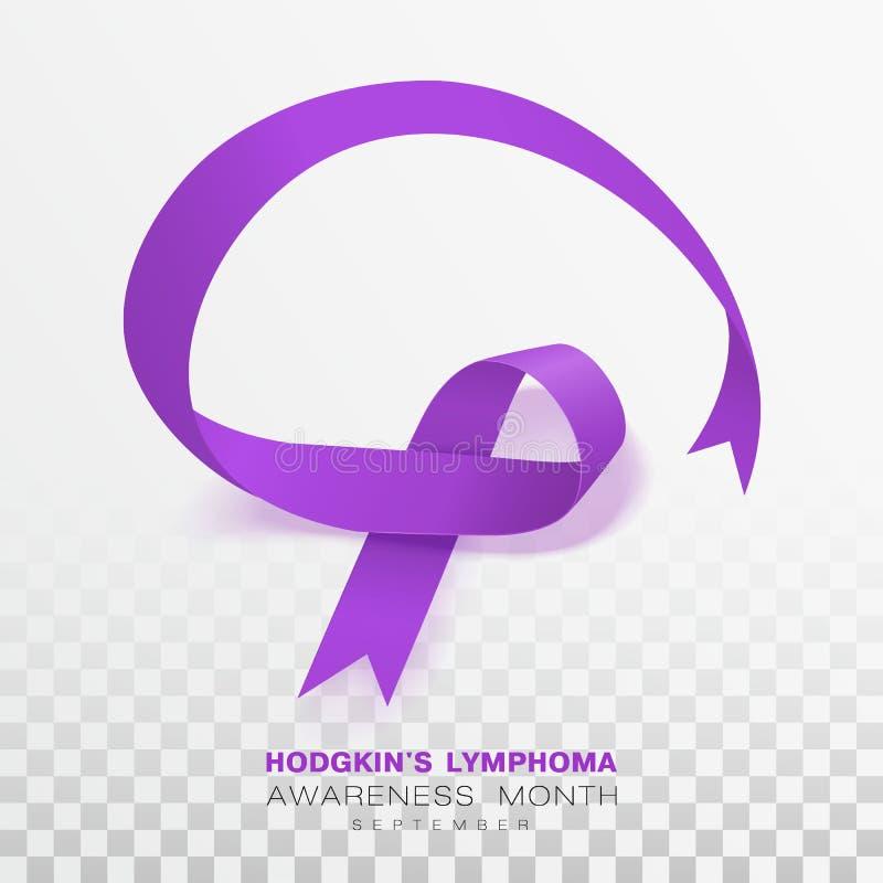 Mois de conscience de lymphome de Hodgkins Fond transparent de Violet Color Ribbon Isolated On Calibre de conception de vecteur p illustration stock