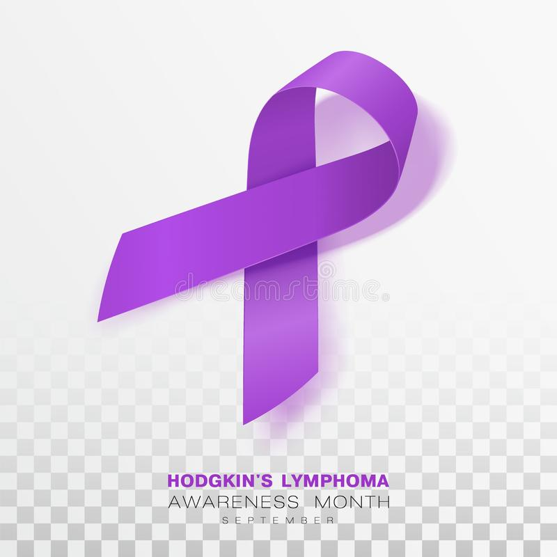 Mois de conscience de lymphome de Hodgkins Fond transparent de Violet Color Ribbon Isolated On Calibre de conception de vecteur p illustration libre de droits