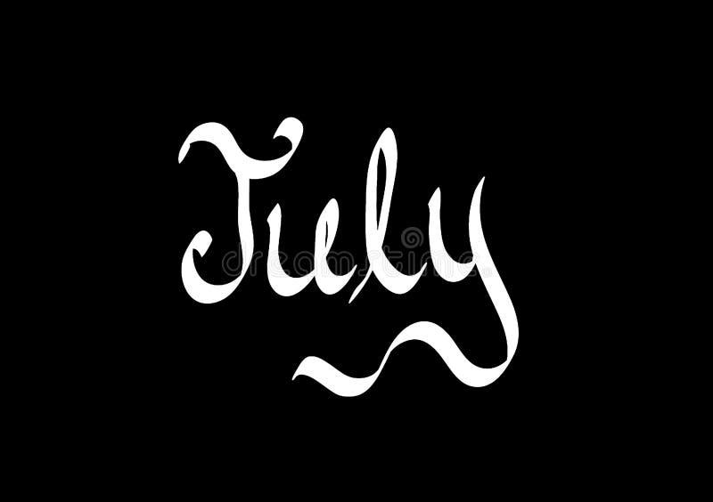 Mois de fond des textes de juillet illustration stock