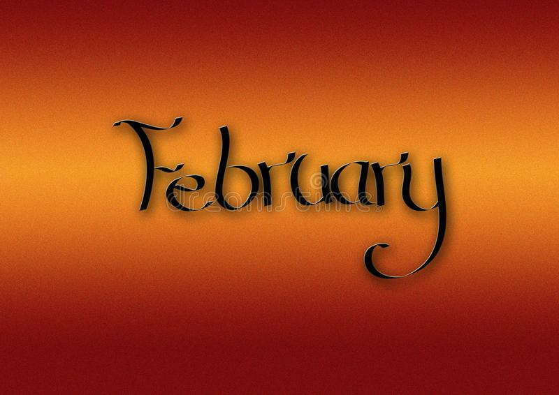 Mois de fond de lettrage de février illustration de vecteur