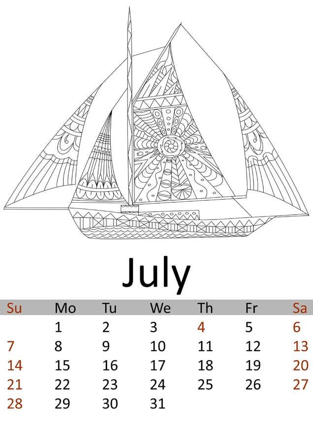 Mois 2019 de juillet de calendrier Transport de coloration Antistress de l'eau, bateau des pirates, modèles de voilier Vecteur illustration de vecteur