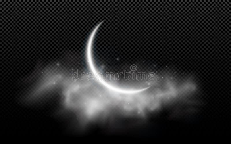 Mois de lune réaliste avec des nuages d'isolement sur un fond transparent Nuage étoilé Nuit foncée Vacances musulmanes Ramadan Ka illustration libre de droits