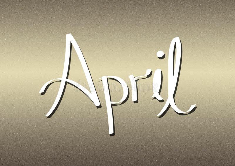 Mois du lettrage d'avril sur le fond texturisé illustration libre de droits