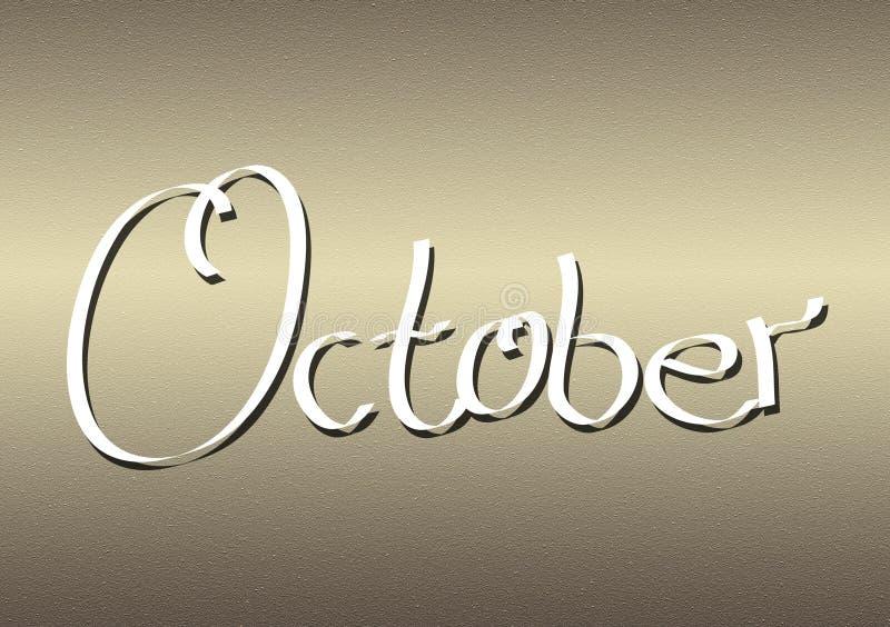 Mois du lettrage d'octobre sur le fond texturisé illustration libre de droits