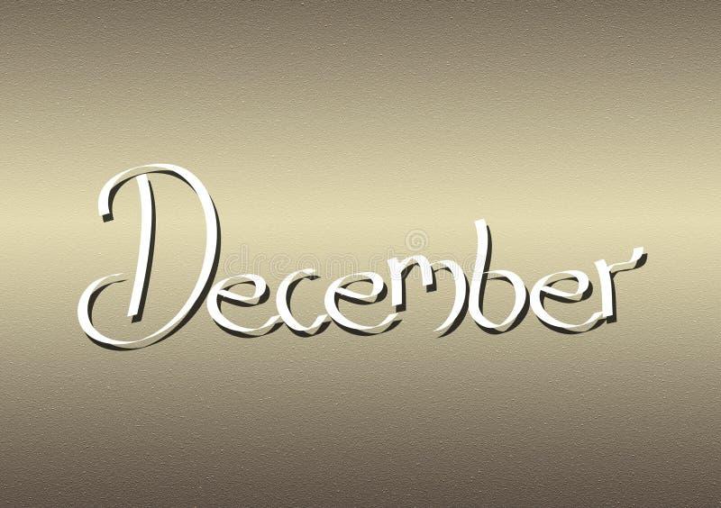 Mois du lettrage de décembre sur le fond texturisé illustration de vecteur