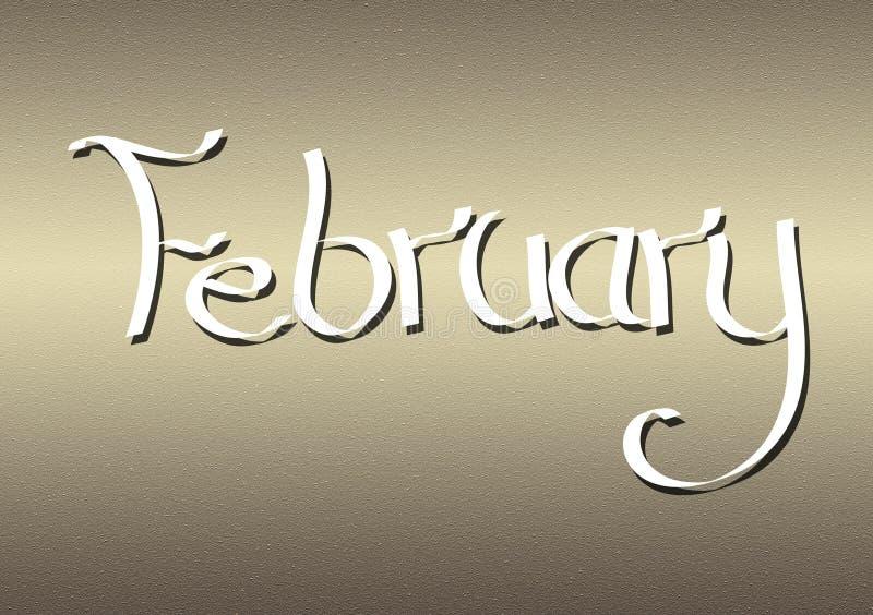 Mois du lettrage de février sur le fond texturisé illustration de vecteur