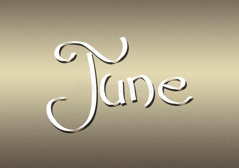 Mois du lettrage de juin sur le fond texturisé illustration de vecteur