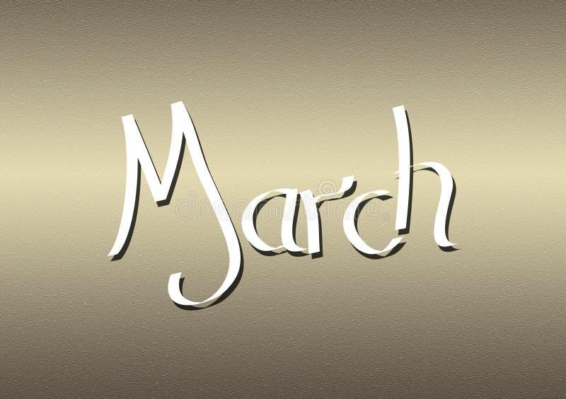 Mois du lettrage de mars sur le fond texturisé illustration de vecteur