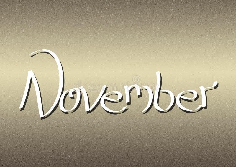 Mois du lettrage de novembre sur le fond texturisé illustration de vecteur
