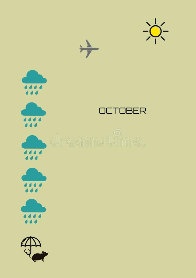 Mois pluvieux octobre d'automne illustration de vecteur