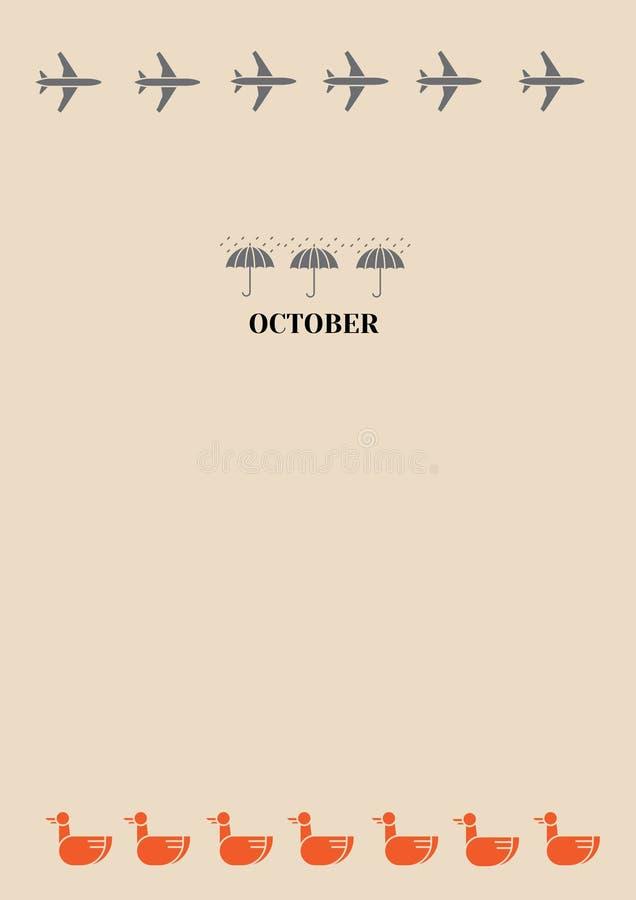 Mois pluvieux octobre d'automne illustration libre de droits