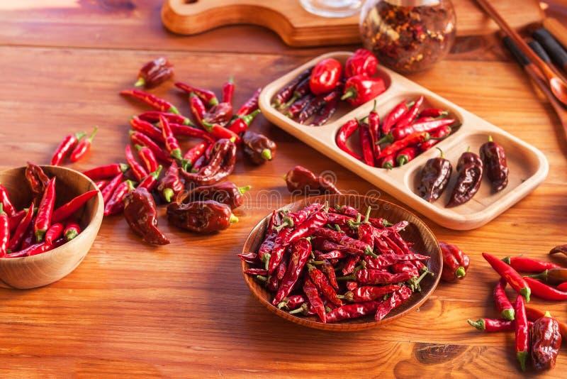Moisson des poivrons de piments Préparation à sécher l'assaisonnement épicé Vente des épices image libre de droits