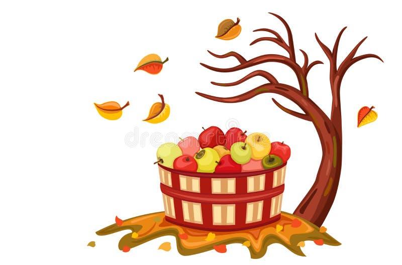 Moisson riche de pomme en automne illustration de vecteur