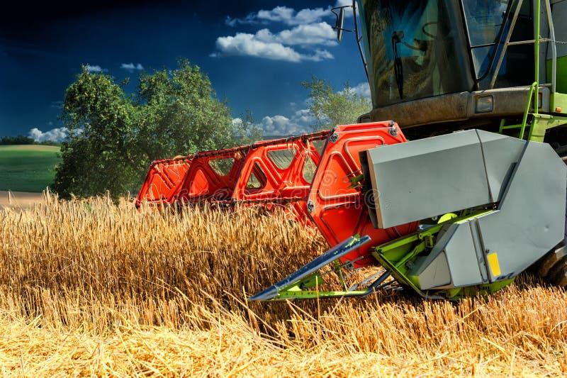 Moissonneuse de cartel au champ de blé images stock