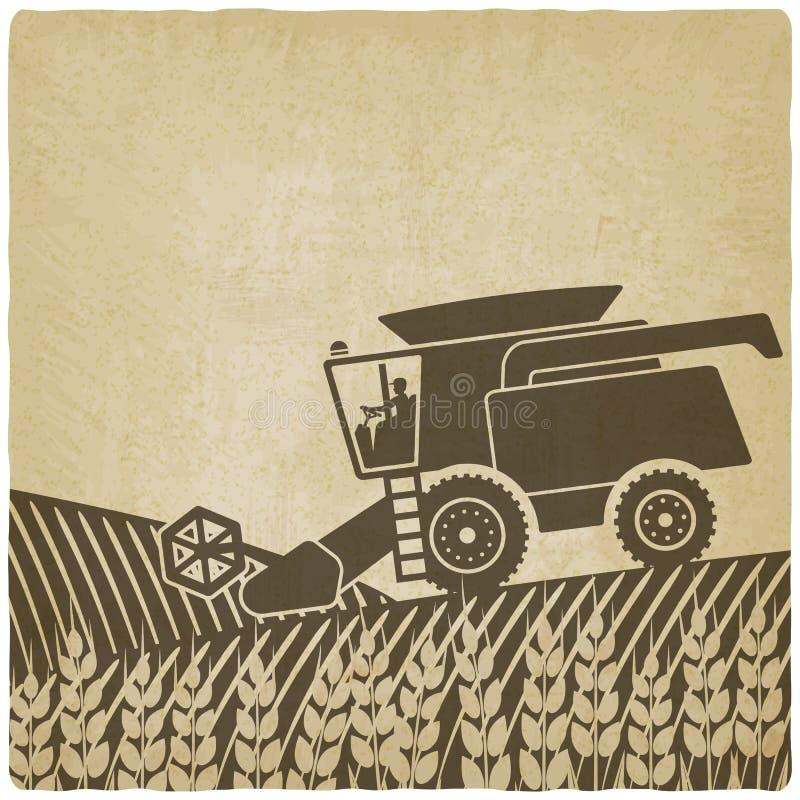 Moissonneuse de cartel au vieil arrière-plan de champ illustration de vecteur