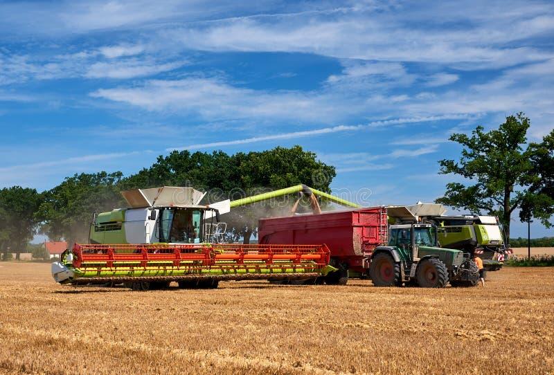 Moissonneuse deux déchargeant le maïs sur le tracteur image libre de droits