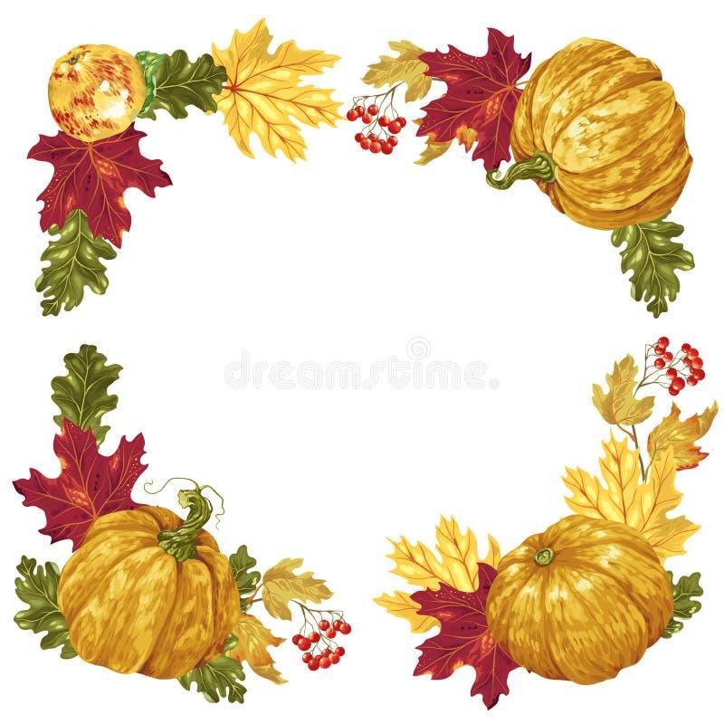 Moissonnez les éléments carrés de cadre de saison et de thanksgiving dans le vecteur illustration de vecteur