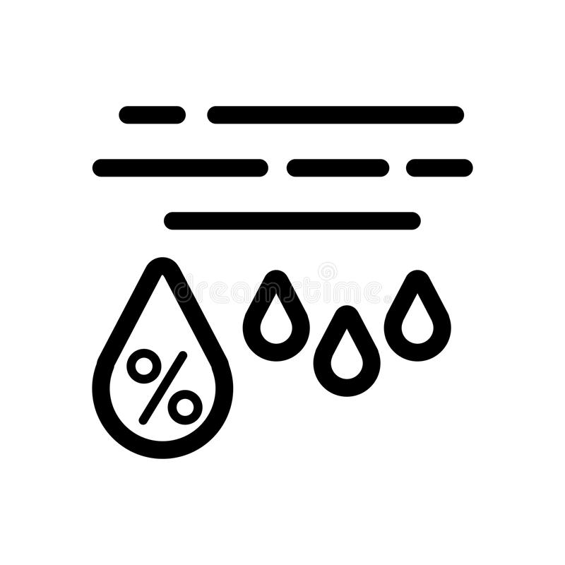 Moisture percentage vector icon. Black and white high humidity illustration. Outline linear weather icon. Eps 10 vector illustration