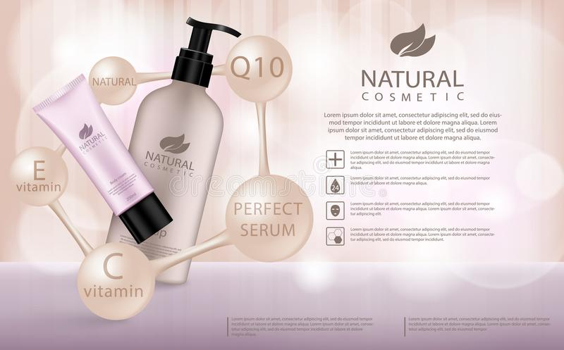 Moisturizing cosmetic products ad, llight beige bokeh background with beautiful containers 3d illustration. Cosmetic cream containers and tubes for cream royalty free illustration