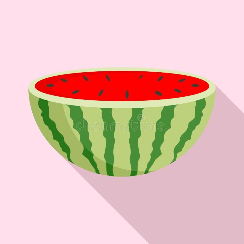 Moitié d'icône de pastèque, style plat illustration de vecteur