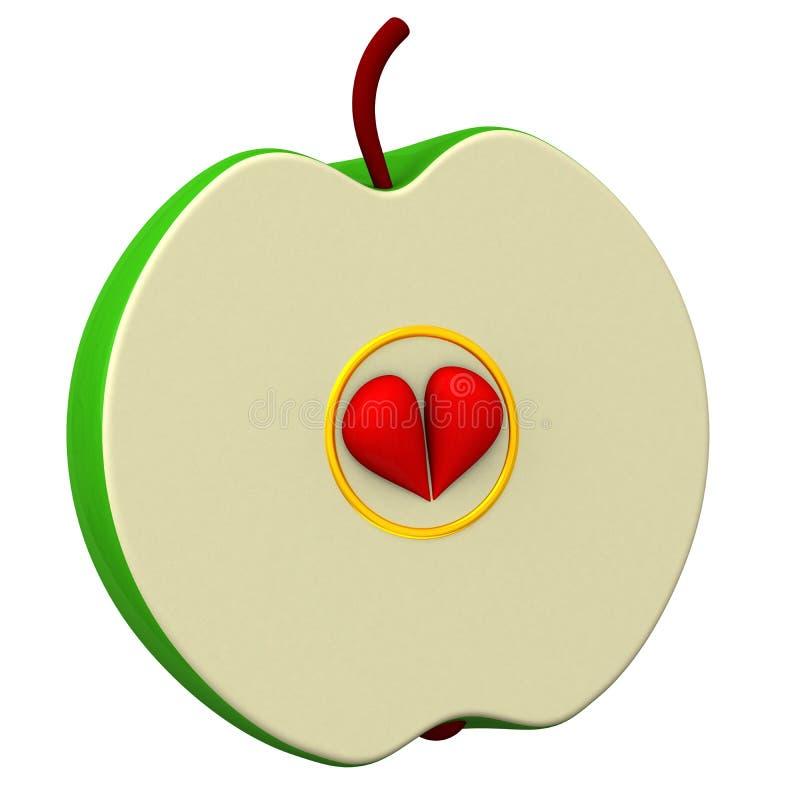 Moitié d'une pomme 3d illustration stock
