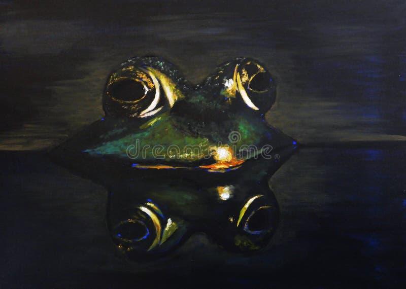 Moitié de grenouille dans l'eau avec la réflexion de l'animal au-dessous de la peinture à l'huile illustration de vecteur