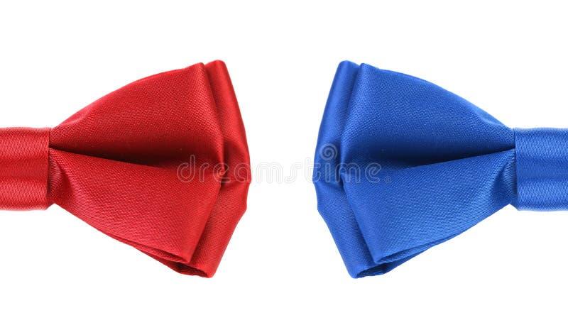 Moitié de noeud papillon rouge et bleu. image libre de droits