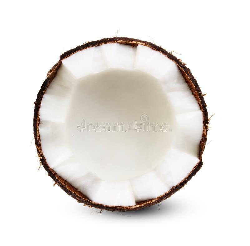 Moitié de noix de coco d'isolement image libre de droits