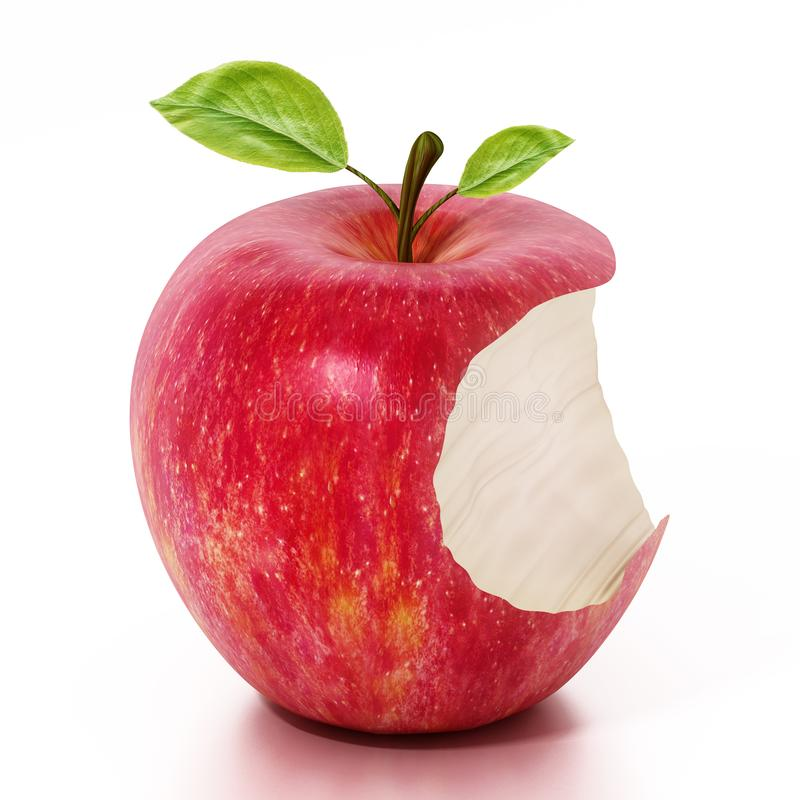 Moitié de pomme rouge mangée d'isolement sur le fond blanc illustration 3D illustration libre de droits