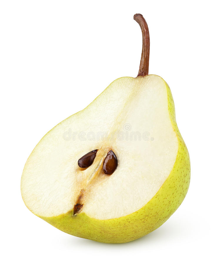 Moitié du fruit jaune de poire d'isolement sur le blanc image stock