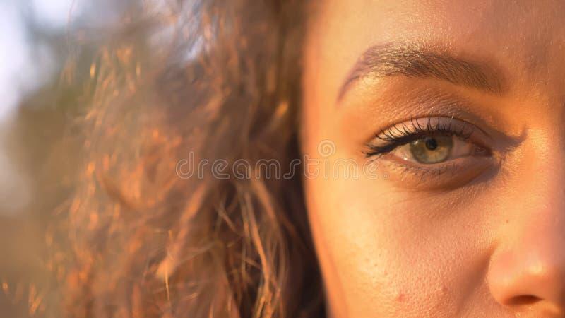 Moitié-portrait en gros plan de la fille caucasienne assez aux cheveux bouclés observant directement dans la caméra en parc autom photos stock